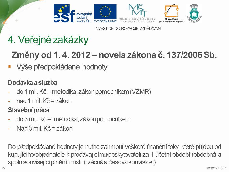 www.vsb.cz 22 Změny od 1. 4. 2012 – novela zákona č. 137/2006 Sb.  Výše předpokládané hodnoty Dodávka a služba -do 1 mil. Kč = metodika, zákon pomocn
