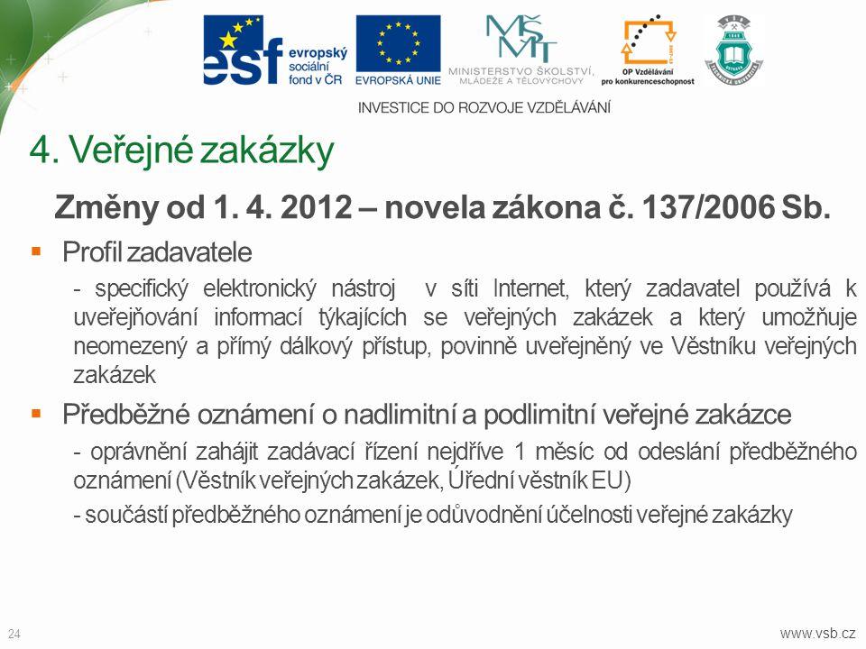 www.vsb.cz 24 Změny od 1. 4. 2012 – novela zákona č. 137/2006 Sb.  Profil zadavatele - specifický elektronický nástroj v síti Internet, který zadavat