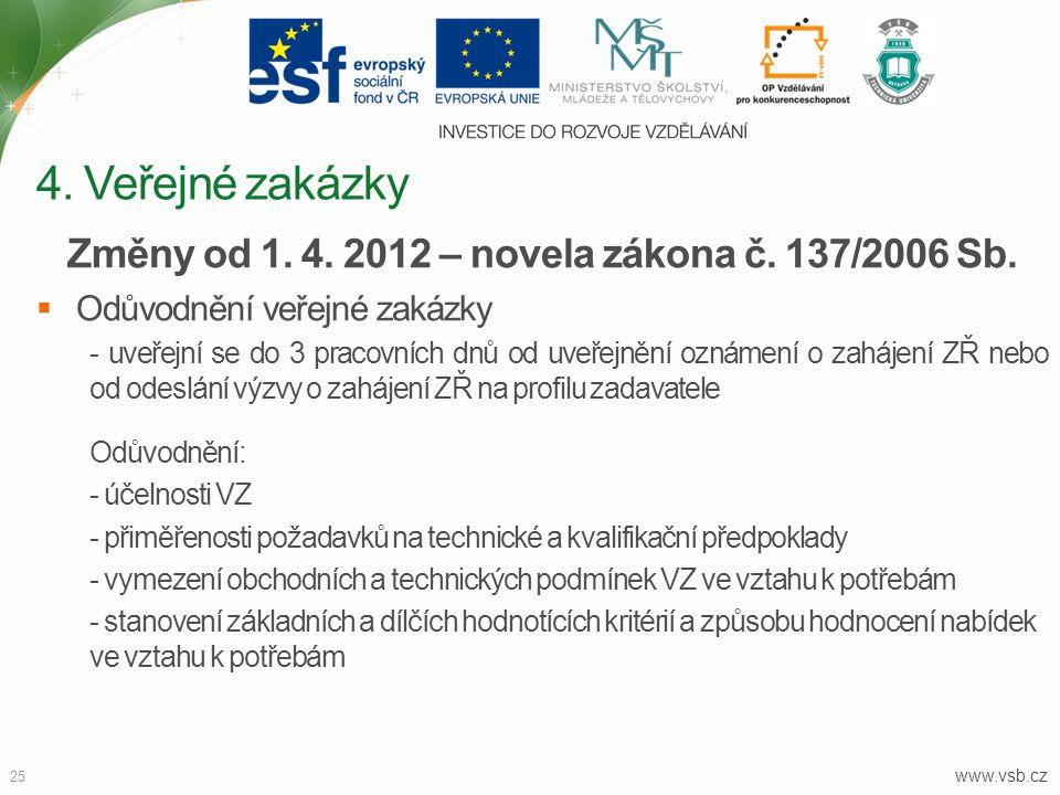 www.vsb.cz 25 Změny od 1. 4. 2012 – novela zákona č. 137/2006 Sb.  Odůvodnění veřejné zakázky - uveřejní se do 3 pracovních dnů od uveřejnění oznámen