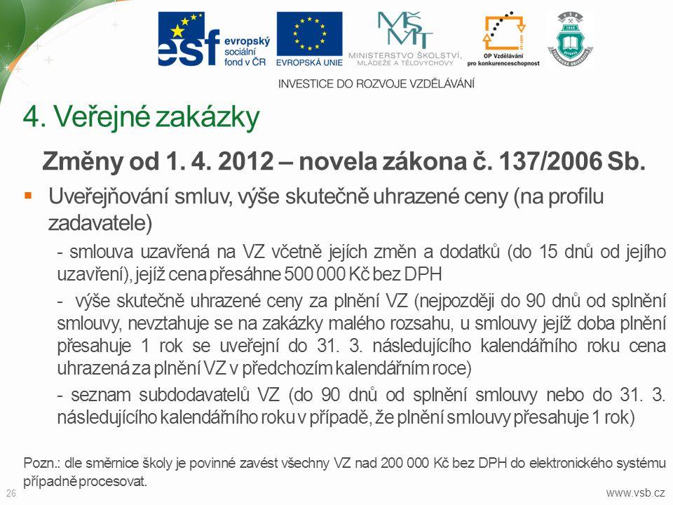 www.vsb.cz 26 Změny od 1. 4. 2012 – novela zákona č. 137/2006 Sb.  Uveřejňování smluv, výše skutečně uhrazené ceny (na profilu zadavatele) - smlouva