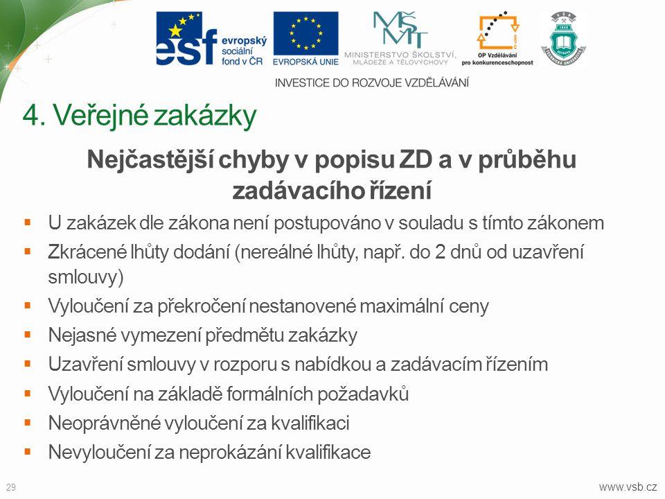 www.vsb.cz 29 Nejčastější chyby v popisu ZD a v průběhu zadávacího řízení  U zakázek dle zákona není postupováno v souladu s tímto zákonem  Zkrácené