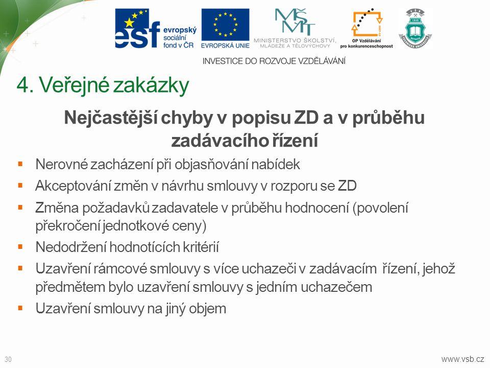 www.vsb.cz 30 Nejčastější chyby v popisu ZD a v průběhu zadávacího řízení  Nerovné zacházení při objasňování nabídek  Akceptování změn v návrhu smlo