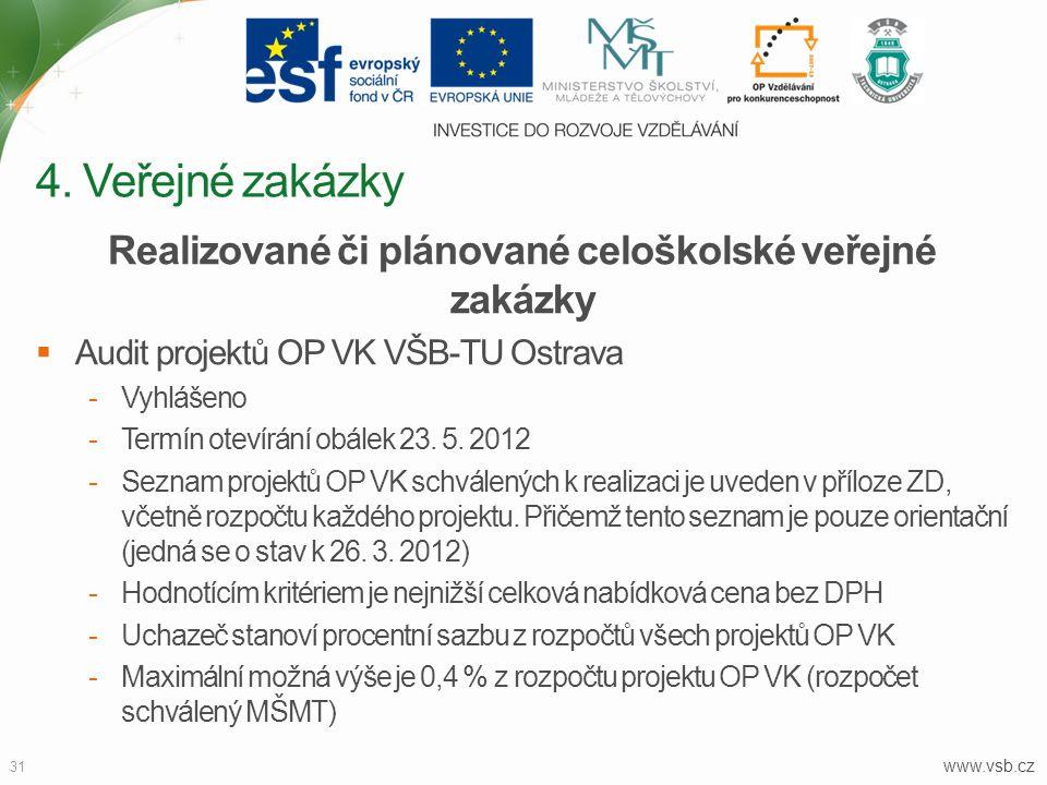 www.vsb.cz 31 Realizované či plánované celoškolské veřejné zakázky  Audit projektů OP VK VŠB-TU Ostrava -Vyhlášeno -Termín otevírání obálek 23. 5. 20