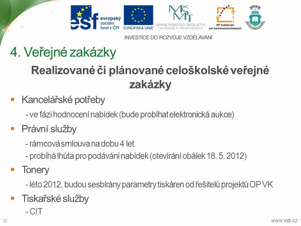 www.vsb.cz 32 Realizované či plánované celoškolské veřejné zakázky  Kancelářské potřeby - ve fázi hodnocení nabídek (bude probíhat elektronická aukce