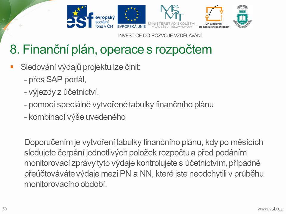 www.vsb.cz 50  Sledování výdajů projektu lze činit: - přes SAP portál, - výjezdy z účetnictví, - pomocí speciálně vytvořené tabulky finančního plánu