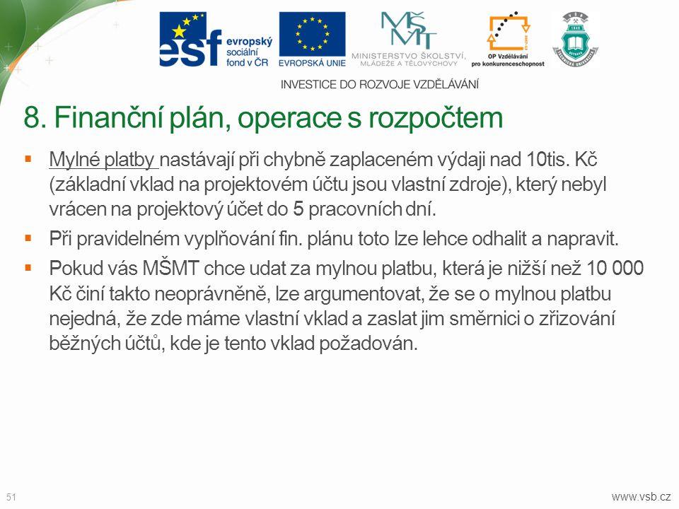 www.vsb.cz 51  Mylné platby nastávají při chybně zaplaceném výdaji nad 10tis. Kč (základní vklad na projektovém účtu jsou vlastní zdroje), který neby