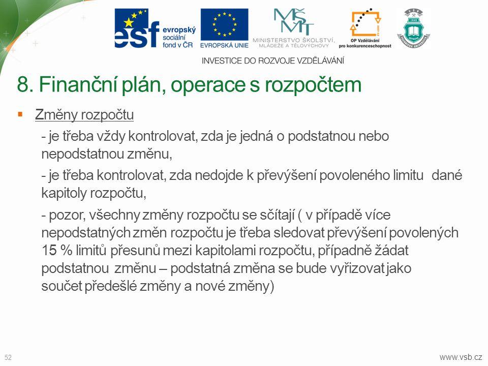 www.vsb.cz 52  Změny rozpočtu - je třeba vždy kontrolovat, zda je jedná o podstatnou nebo nepodstatnou změnu, - je třeba kontrolovat, zda nedojde k p