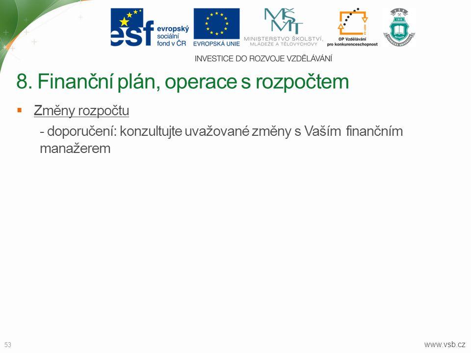 www.vsb.cz 53  Změny rozpočtu - doporučení: konzultujte uvažované změny s Vaším finančním manažerem 8. Finanční plán, operace s rozpočtem