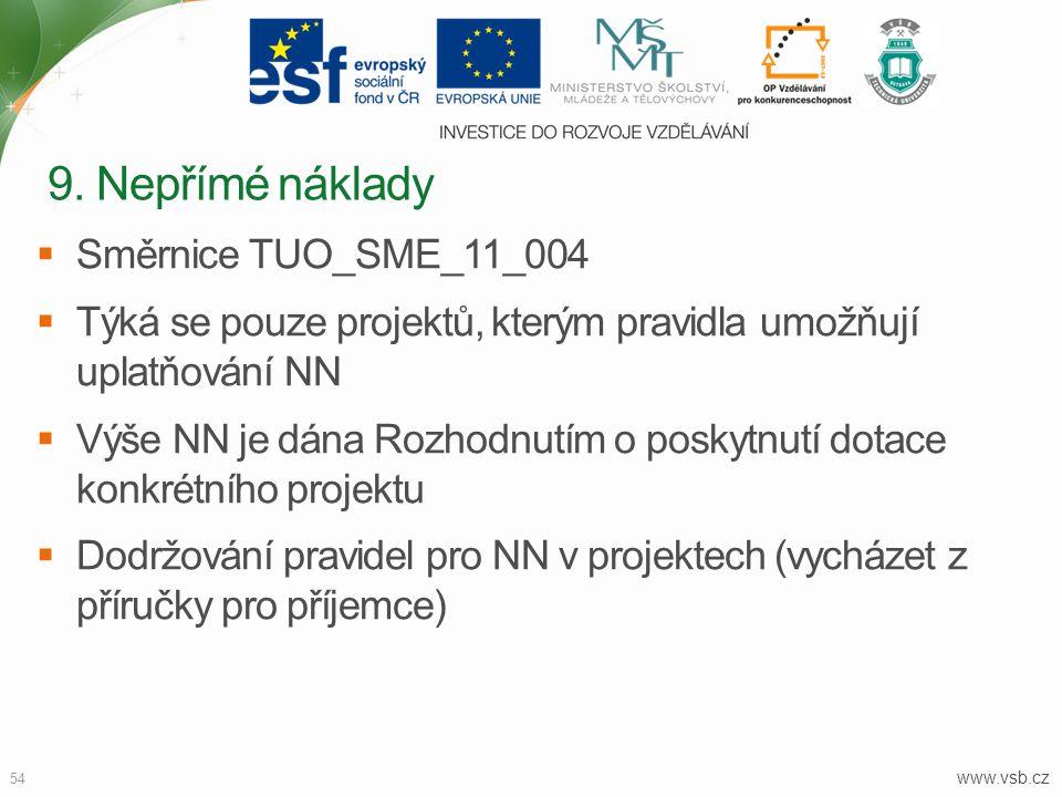 www.vsb.cz 54  Směrnice TUO_SME_11_004  Týká se pouze projektů, kterým pravidla umožňují uplatňování NN  Výše NN je dána Rozhodnutím o poskytnutí d