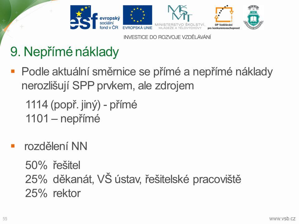 www.vsb.cz 55  Podle aktuální směrnice se přímé a nepřímé náklady nerozlišují SPP prvkem, ale zdrojem 1114 (popř. jiný) - přímé 1101 – nepřímé  rozd