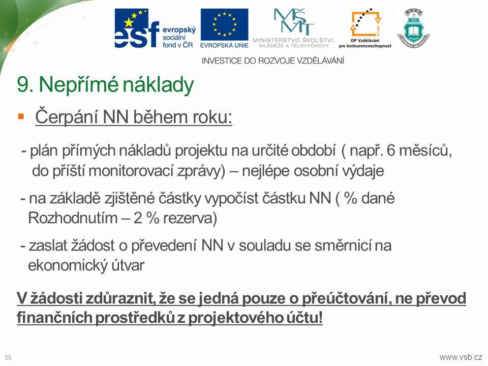 www.vsb.cz 56  Čerpání NN během roku: - plán přímých nákladů projektu na určité období ( např. 6 měsíců, do příští monitorovací zprávy) – nejlépe oso