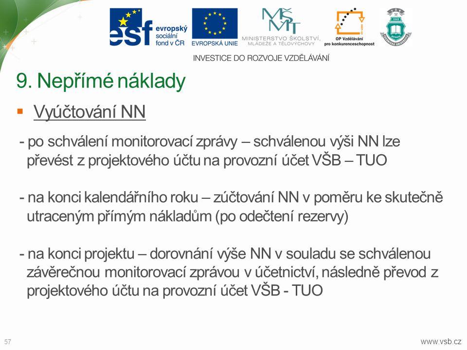 www.vsb.cz 57  Vyúčtování NN - po schválení monitorovací zprávy – schválenou výši NN lze převést z projektového účtu na provozní účet VŠB – TUO - na