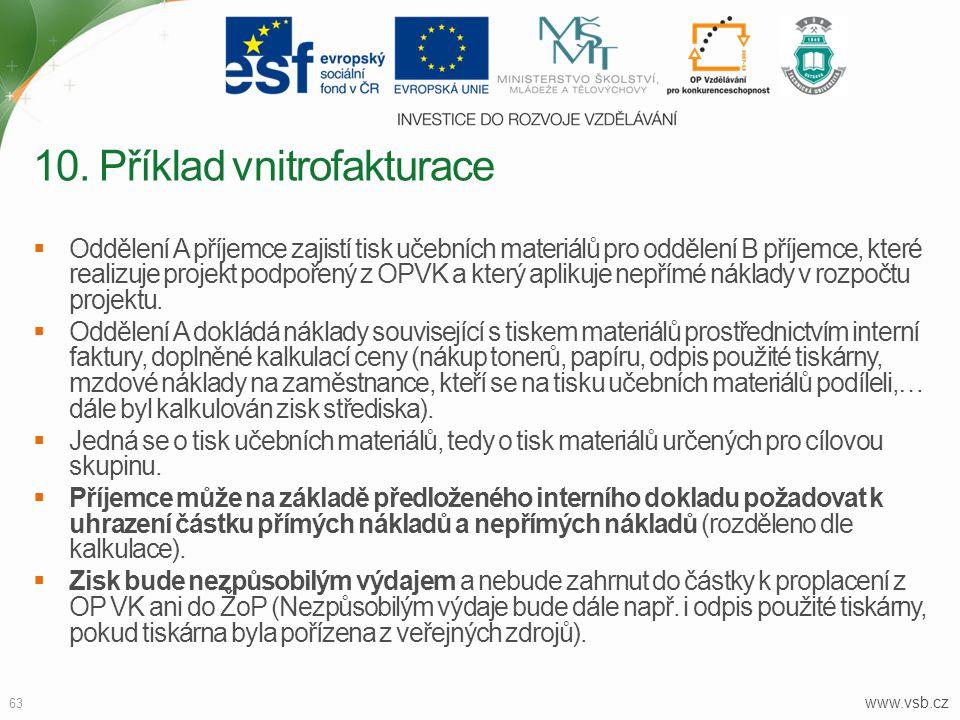 www.vsb.cz 63  Oddělení A příjemce zajistí tisk učebních materiálů pro oddělení B příjemce, které realizuje projekt podpořený z OPVK a který aplikuje
