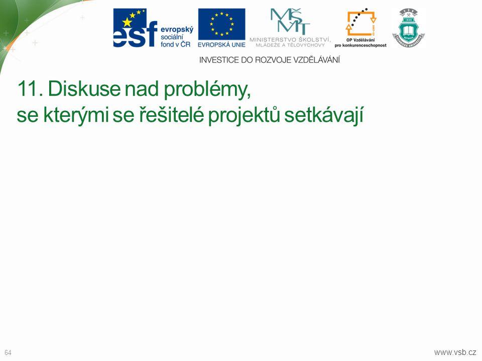 www.vsb.cz 64 11. Diskuse nad problémy, se kterými se řešitelé projektů setkávají