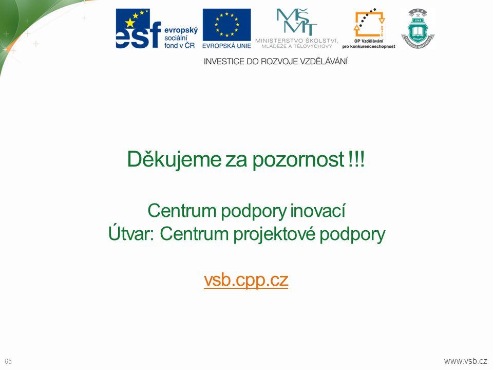 www.vsb.cz 65 Děkujeme za pozornost !!! Centrum podpory inovací Útvar: Centrum projektové podpory vsb.cpp.cz vsb.cpp.cz