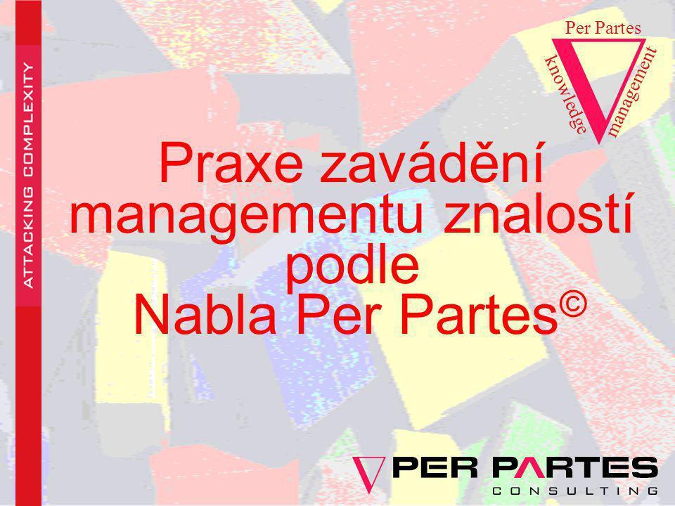 Praxe zavádění managementu znalostí podle Nabla Per Partes © knowledge Per Partes management