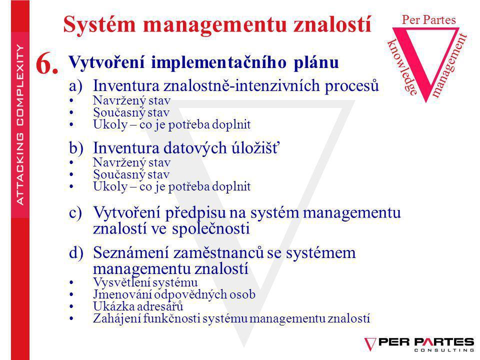 Systém managementu znalostí Vytvoření implementačního plánu a)Inventura znalostně-intenzivních procesů Navržený stav Současný stav Úkoly – co je potře