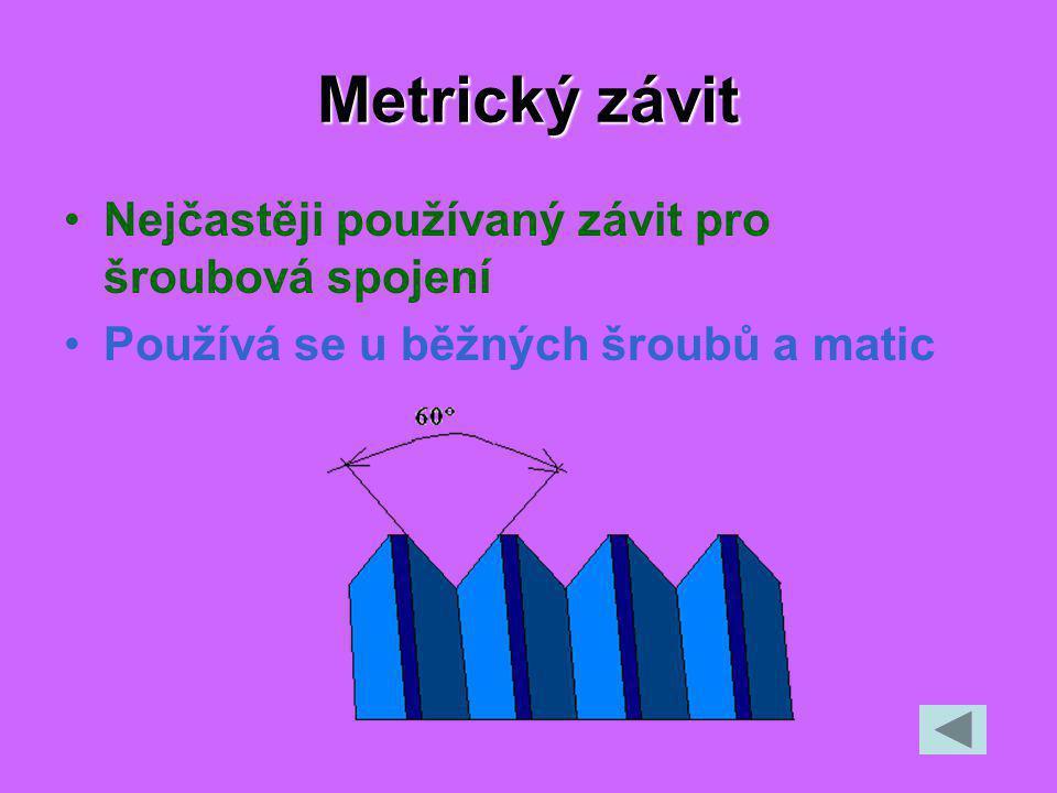 Metrický závit Nejčastěji používaný závit pro šroubová spojení Používá se u běžných šroubů a matic