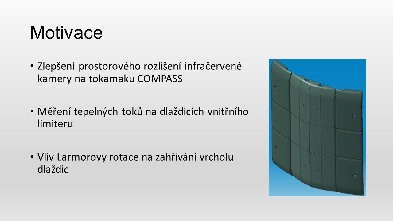 Motivace Zlepšení prostorového rozlišení infračervené kamery na tokamaku COMPASS Měření tepelných toků na dlaždicích vnitřního limiteru Vliv Larmorovy rotace na zahřívání vrcholu dlaždic