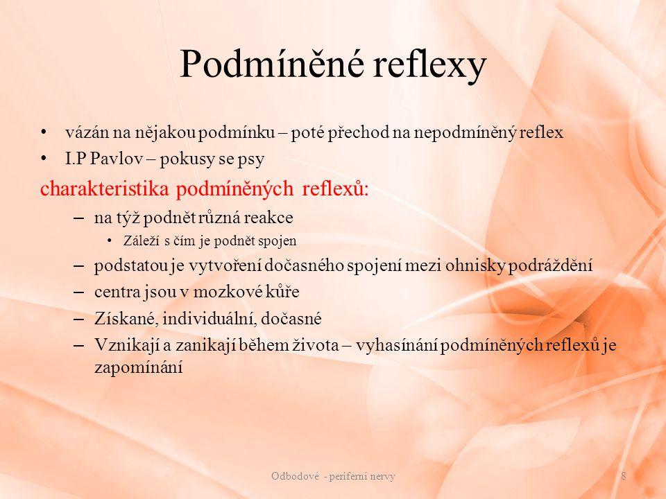 Podmíněné reflexy vázán na nějakou podmínku – poté přechod na nepodmíněný reflex I.P Pavlov – pokusy se psy charakteristika podmíněných reflexů: – na