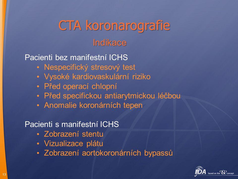 13 Pacienti bez manifestní ICHS Nespecifický stresový test Vysoké kardiovaskulární riziko Před operací chlopní Před specifickou antiarytmickou léčbou