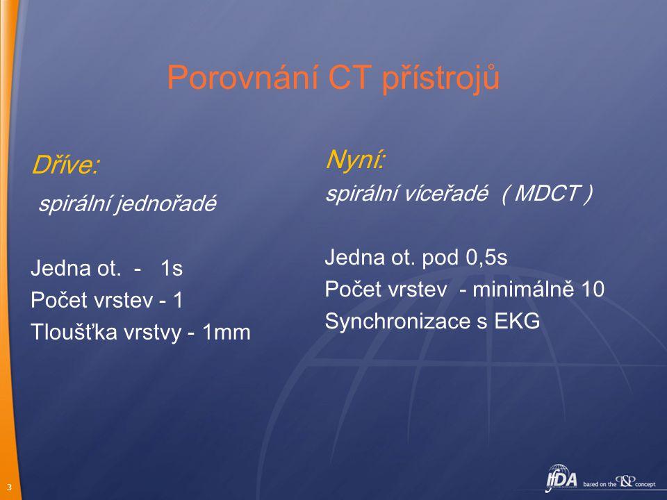 3 Porovnání CT přístrojů Dříve: spirální jednořadé Jedna ot. - 1s Počet vrstev - 1 Tloušťka vrstvy - 1mm Nyní: spirální víceřadé ( MDCT ) Jedna ot. po