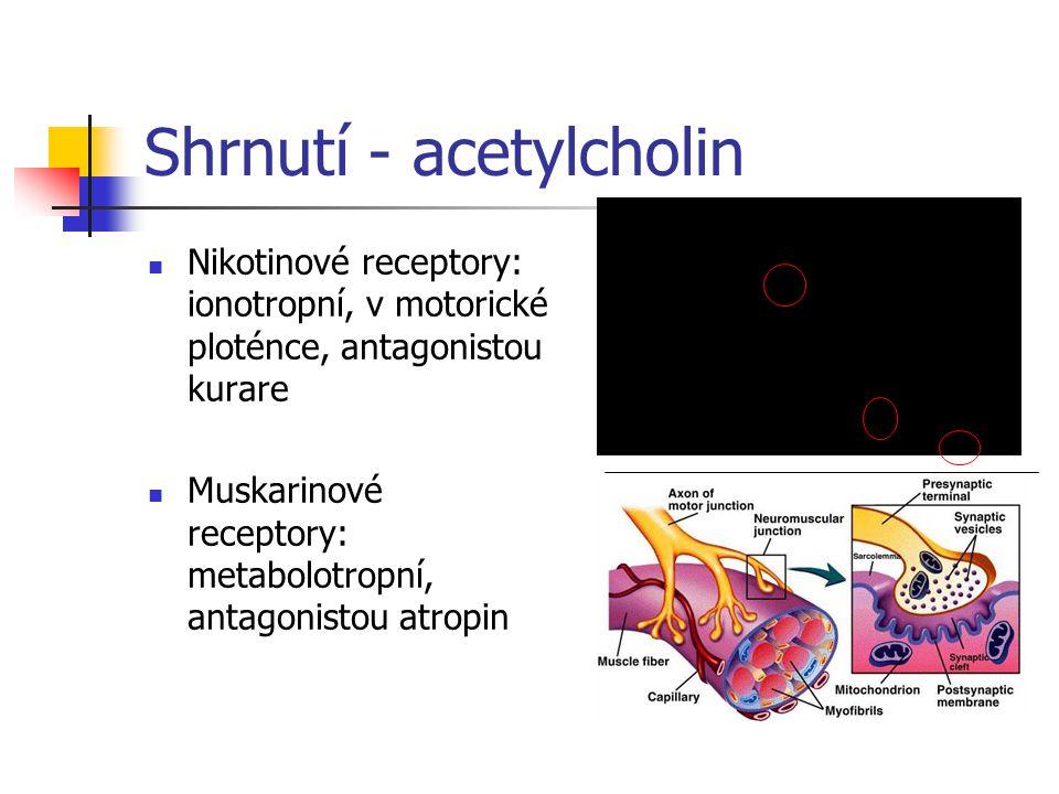 Shrnutí - acetylcholin Nikotinové receptory: ionotropní, v motorické ploténce, antagonistou kurare Muskarinové receptory: metabolotropní, antagonistou