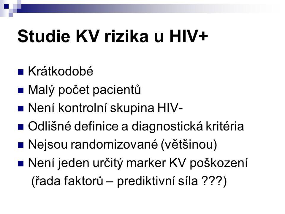 Studie KV rizika u HIV+ Krátkodobé Malý počet pacientů Není kontrolní skupina HIV- Odlišné definice a diagnostická kritéria Nejsou randomizované (větš