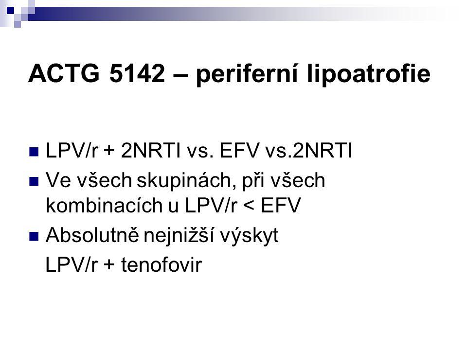ACTG 5142 – periferní lipoatrofie LPV/r + 2NRTI vs. EFV vs.2NRTI Ve všech skupinách, při všech kombinacích u LPV/r < EFV Absolutně nejnižší výskyt LPV