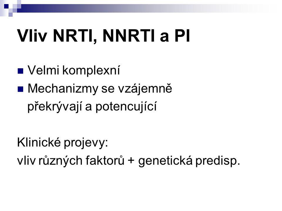 Vliv NRTI, NNRTI a PI Velmi komplexní Mechanizmy se vzájemně překrývají a potencující Klinické projevy: vliv různých faktorů + genetická predisp.