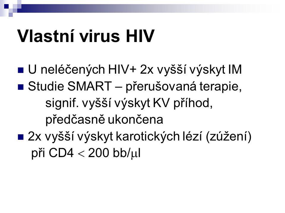 Vlastní virus HIV U neléčených HIV+ 2x vyšší výskyt IM Studie SMART – přerušovaná terapie, signif. vyšší výskyt KV příhod, předčasně ukončena 2x vyšší