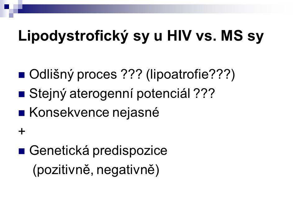 Lipodystrofický sy u HIV vs. MS sy Odlišný proces ??? (lipoatrofie???) Stejný aterogenní potenciál ??? Konsekvence nejasné + Genetická predispozice (p