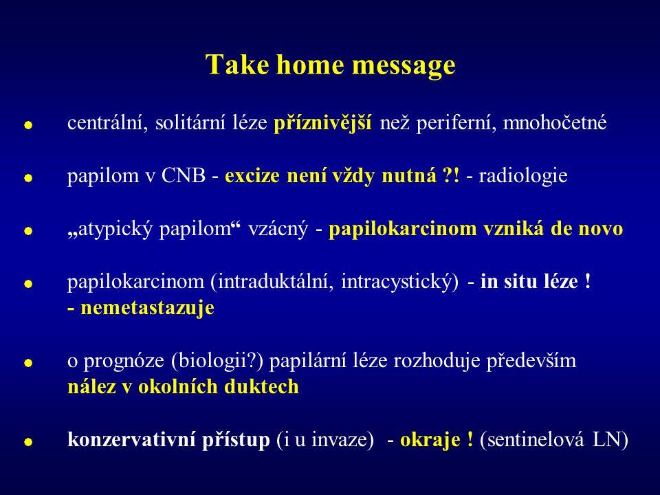 Take home message  centrální, solitární léze příznivější než periferní, mnohočetné  papilom v CNB - excize není vždy nutná ?.