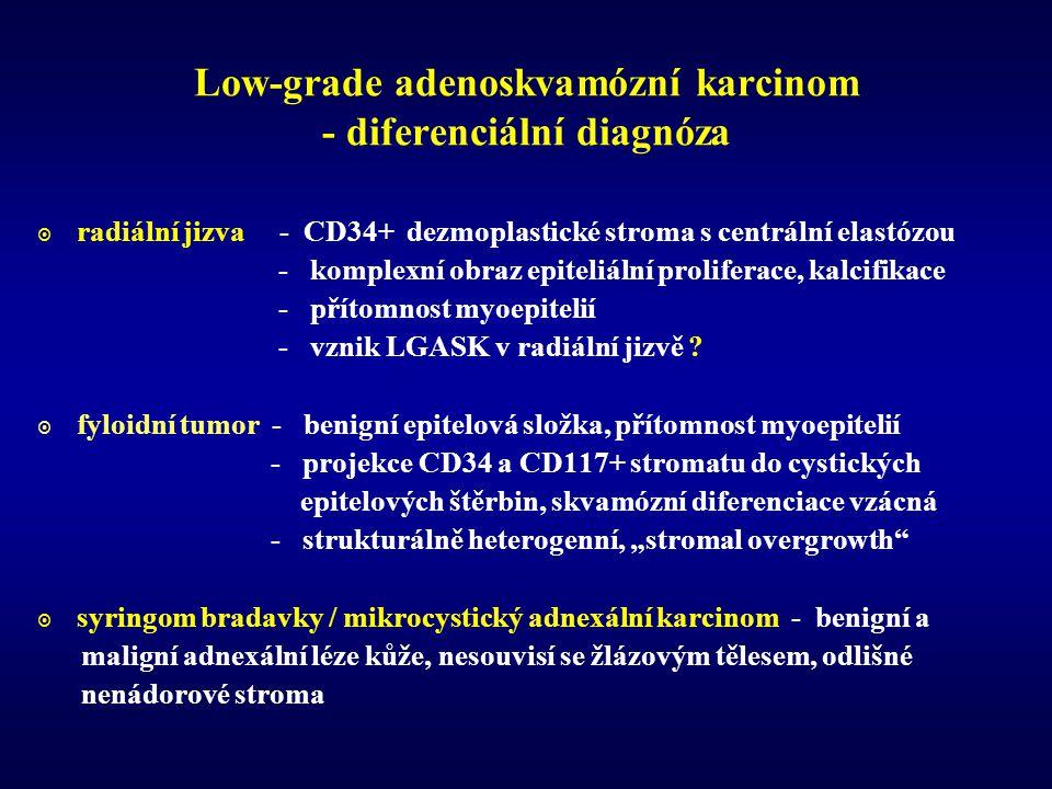 Low-grade adenoskvamózní karcinom - diferenciální diagnóza  radiální jizva - CD34+ dezmoplastické stroma s centrální elastózou - komplexní obraz epiteliální proliferace, kalcifikace - přítomnost myoepitelií - vznik LGASK v radiální jizvě .