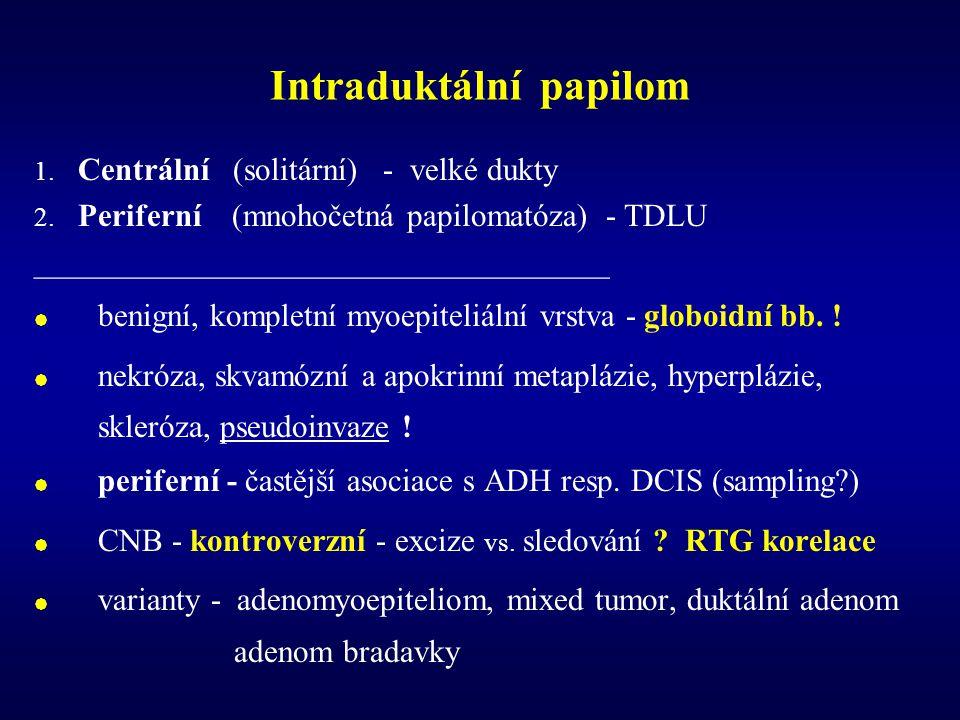 Intraduktální papilokarcinom 1.Centrální (intracystický, solitární) 2.