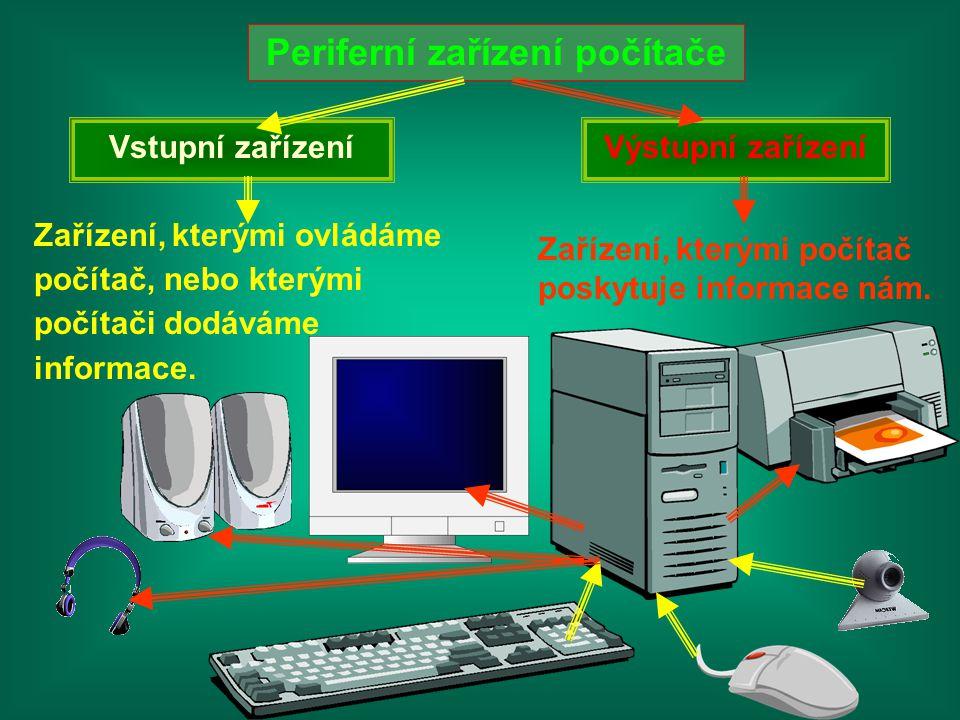 Periferní zařízení počítače Vstupní zařízení Zařízení, kterými ovládáme počítač, nebo kterými počítači dodáváme informace. Výstupní zařízení Zařízení,