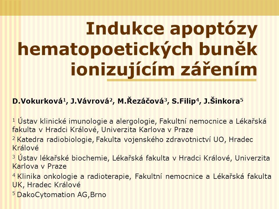 Indukce apoptózy hematopoetických buněk ionizujícím zářením D.Vokurková 1, J.Vávrová 2, M.Řezáčová 3, S.Filip 4, J.Šinkora 5 1 Ústav klinické imunolog