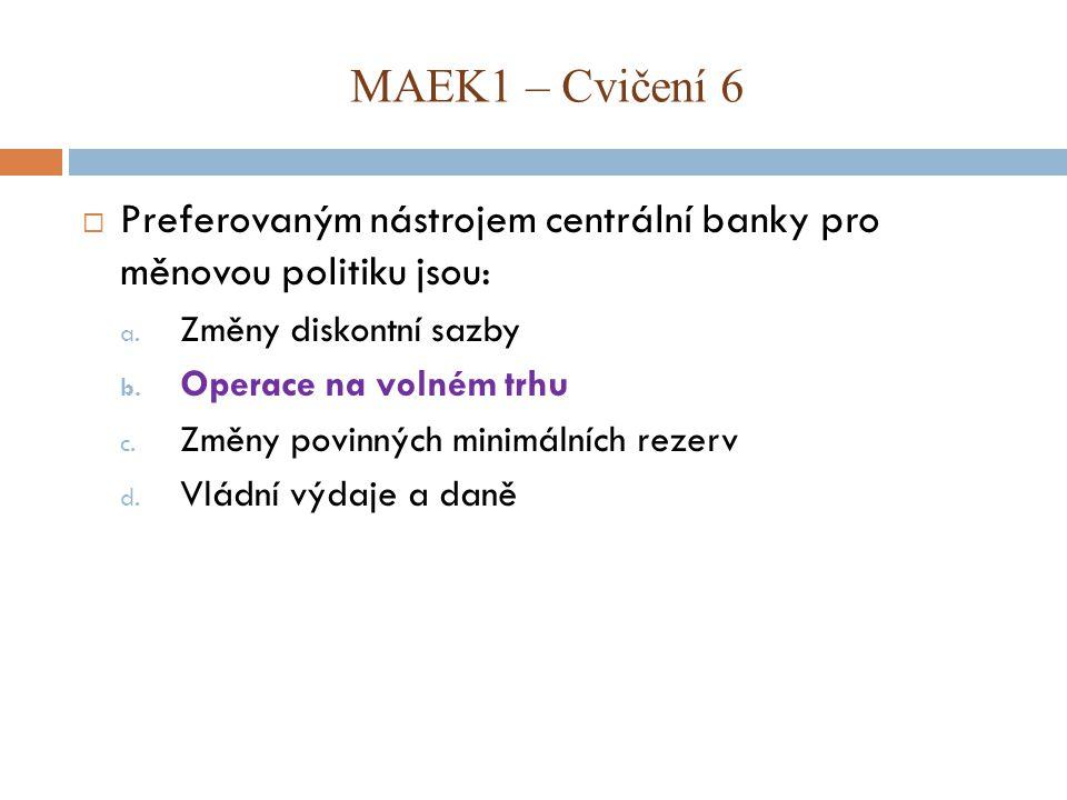  Preferovaným nástrojem centrální banky pro měnovou politiku jsou: a. Změny diskontní sazby b. Operace na volném trhu c. Změny povinných minimálních