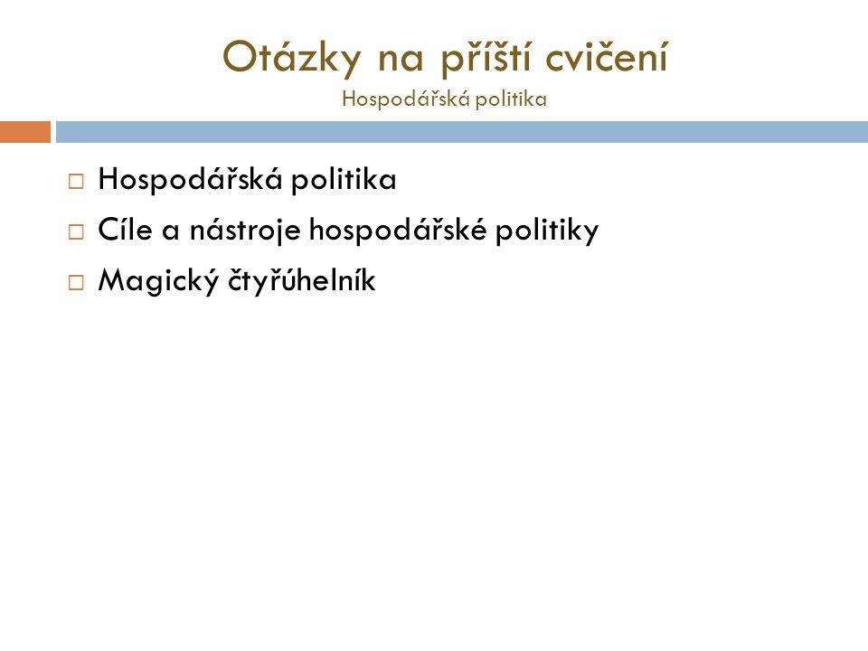 Otázky na příští cvičení Hospodářská politika  Hospodářská politika  Cíle a nástroje hospodářské politiky  Magický čtyřúhelník