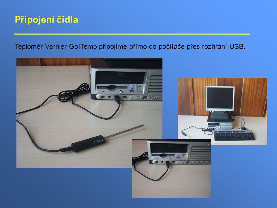 Připojení čidla Teploměr Vernier Go!Temp připojíme přímo do počítače přes rozhraní USB.