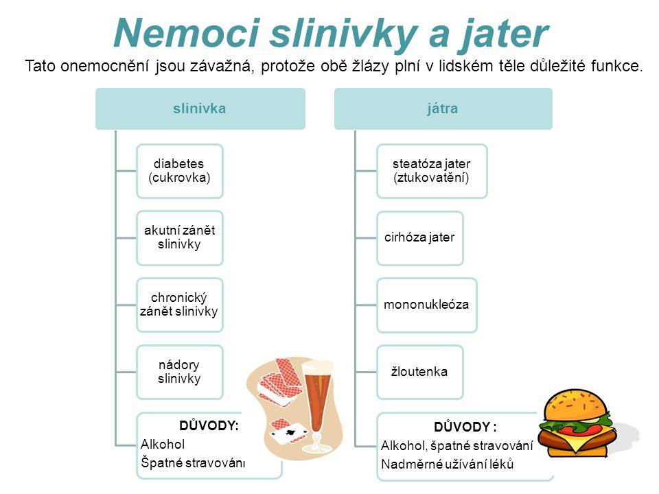 Nemoci slinivky a jater slinivka diabetes (cukrovka) akutní zánět slinivky chronický zánět slinivky nádory slinivky DŮVODY: Alkohol Špatné stravování