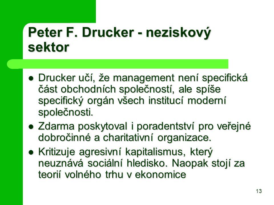 Peter F. Drucker - neziskový sektor Drucker učí, že management není specifická část obchodních společností, ale spíše specifický orgán všech institucí
