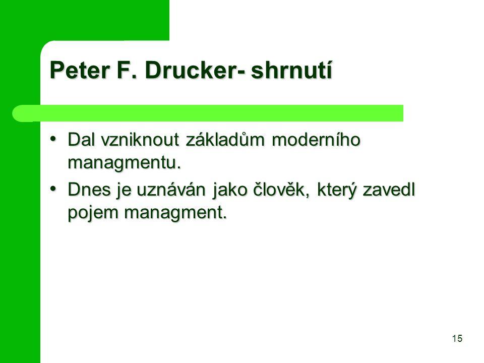 Peter F. Drucker- shrnutí Dal vzniknout základům moderního managmentu. Dal vzniknout základům moderního managmentu. Dnes je uznáván jako člověk, který