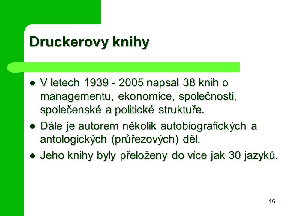 Druckerovy knihy V letech 1939 - 2005 napsal 38 knih o managementu, ekonomice, společnosti, společenské a politické struktuře. V letech 1939 - 2005 na