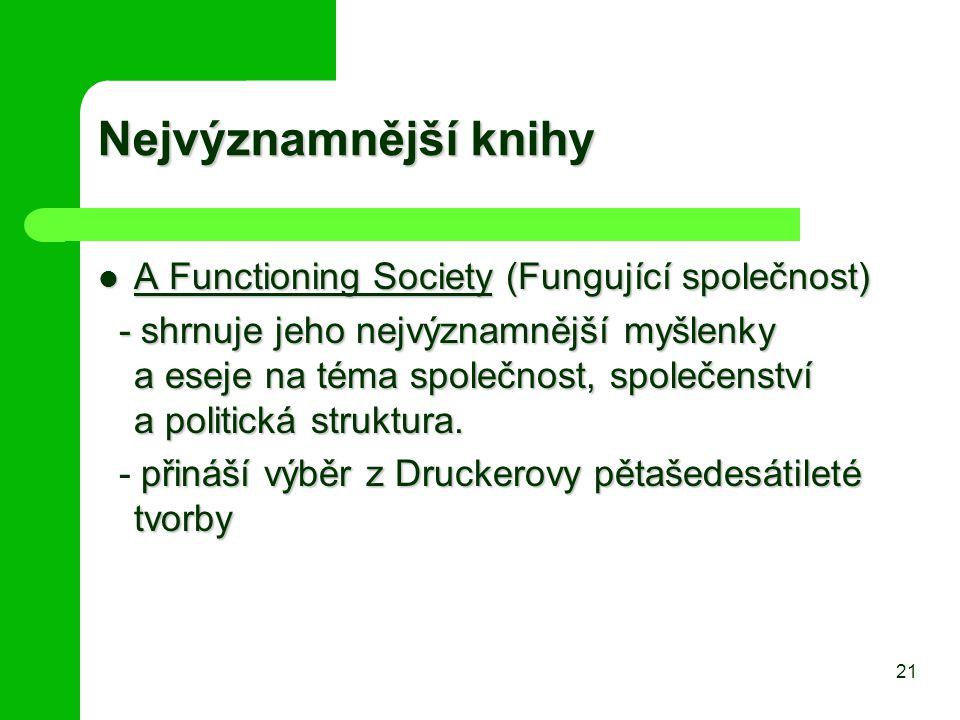 Nejvýznamnější knihy A Functioning Society (Fungující společnost) A Functioning Society (Fungující společnost) - shrnuje jeho nejvýznamnější myšlenky