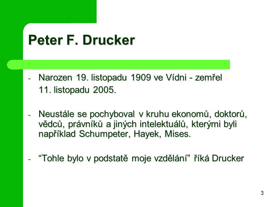 Peter F. Drucker - Narozen 19. listopadu 1909 ve Vídni - zemřel 11. listopadu 2005. - Neustále se pochyboval v kruhu ekonomů, doktorů, vědců, právníků