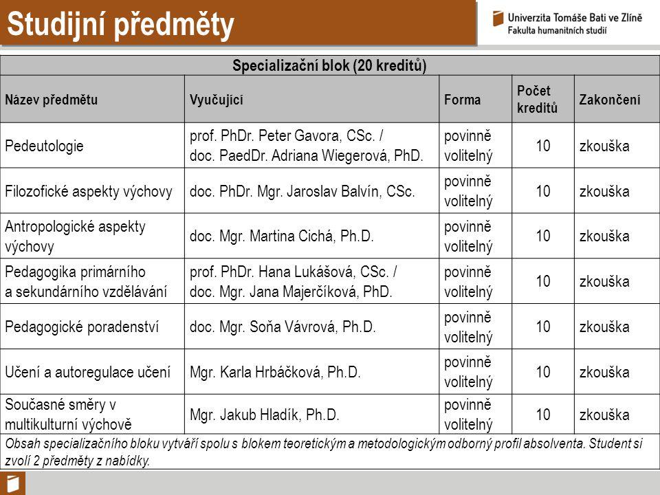 Studijní předměty Specializační blok (20 kreditů) Název předmětuVyučujícíForma Počet kreditů Zakončení Pedeutologie prof. PhDr. Peter Gavora, CSc. / d