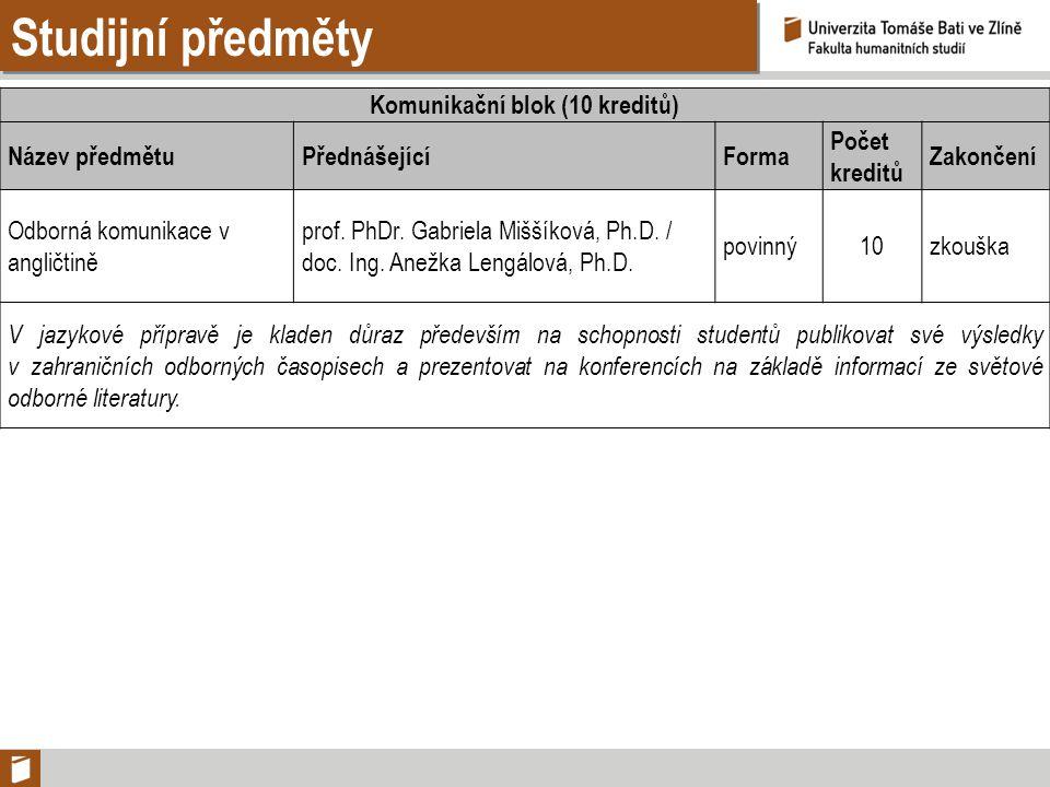 Studijní předměty Komunikační blok (10 kreditů) Název předmětuPřednášejícíForma Počet kreditů Zakončení Odborná komunikace v angličtině prof. PhDr. Ga