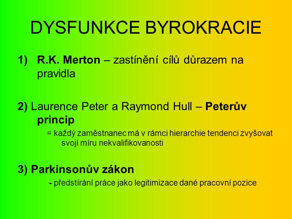 DYSFUNKCE BYROKRACIE 1)R.K. Merton – zastínění cílů důrazem na pravidla 2) Laurence Peter a Raymond Hull – Peterův princip = každý zaměstnanec má v rá