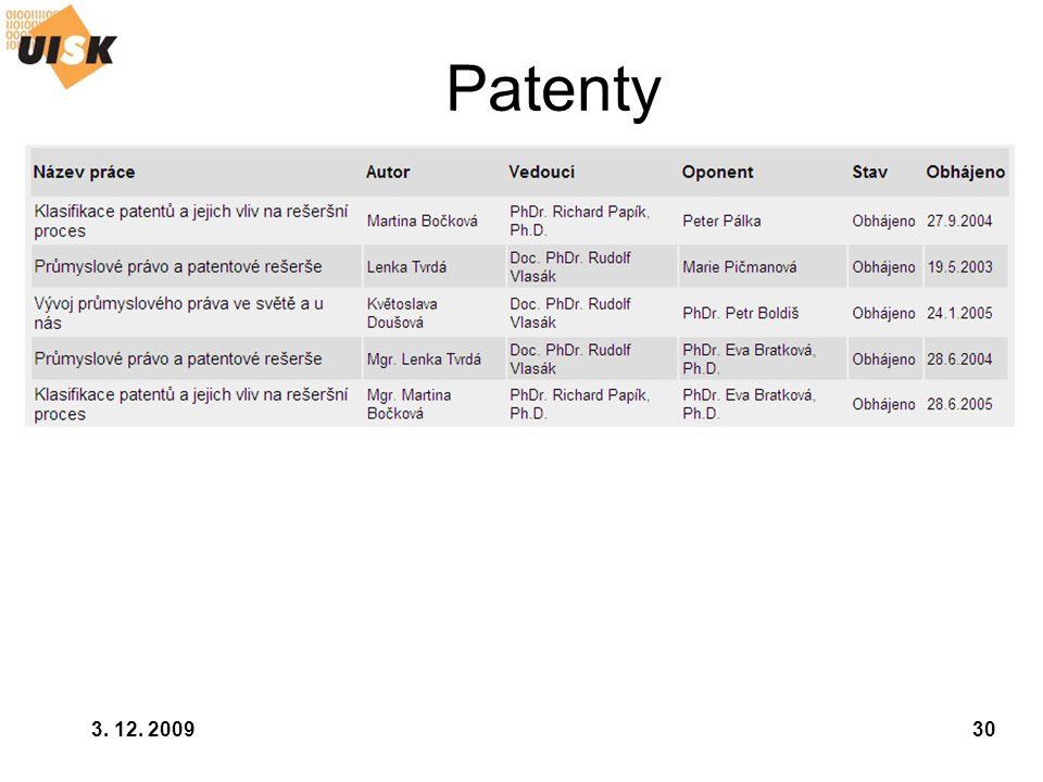 3. 12. 200930 Patenty